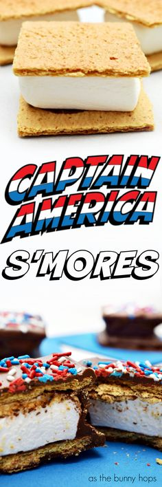 Celebrate the star-spangled man with a plan with a batch of Captain America S'mores! They make a great Marvel snack when you're on the go. Get the easy recipe at As The Bunny Hops!