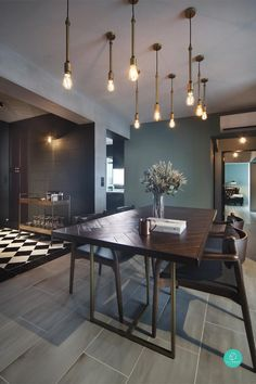 New kitchen lighting industrial dining rooms ideas Industrial Dining, Industrial Lighting, Modern Lighting, Industrial Style, Industrial Office, Lighting Design, Lighting Ideas, Industrial Bedroom, Industrial Interiors