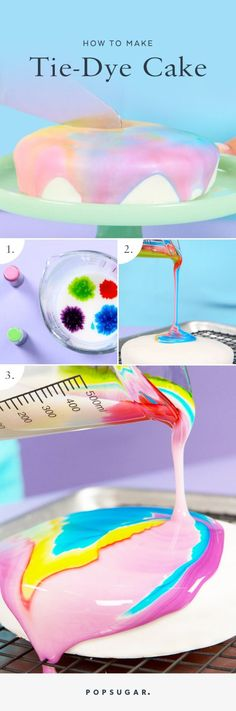 DIY Paint Pour CakeThe liquid icing is just powdered sugar with food coloring poured over a fondant covered cake. GIF by me using imgur and ezgif, original video by Popsugar. Find the recipe and tutorial for this DIY Paint Pour Cake fro Popsugar...