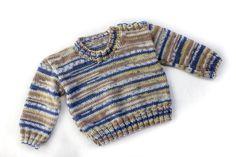 My pattern for every boys' favourite sweater. An elegant and modern, no non-sense design, simple lines, easy to wear. Just choose a beautiful yarn and relax with this perfect weekend project. The buttons are a nice design detail, as well as helping with getting it over the head, which some babies and children do not like. This classic pattern for a Shoulder buttoned sweater is easy and quick to knit. Knit it either in a solid colour, or experiment with one of the many self striping...