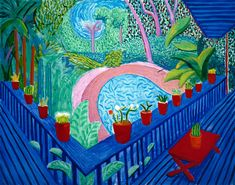 David Hockney, Red Pots in the Garden, 2000, Oil on canvas, 155 x 193 cm