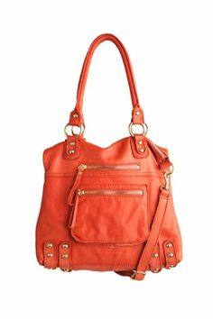 Linea Pelle Medium Dylan Leather Zip Tote in Coral