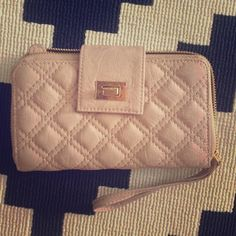 Nude pleather wallet Nude pleather wallet/clutch wristlet. Little signs of wear. Bags Clutches & Wristlets