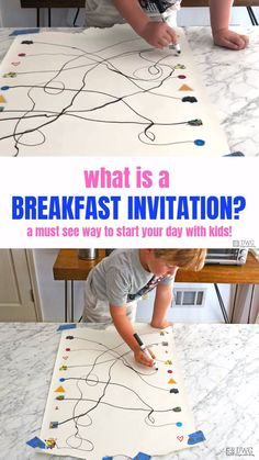 Breakfast Invitations are the solution to wake up as your child thinks. Adding this idea to your weekly morning routine will engage creativity and encourage more independent playtime. activities for preschoolers What is a Breakfast Invitation? Creative Activities For Kids, Preschool Learning Activities, Indoor Activities For Kids, Toddler Activities, Fun Activities, Preschool Journals, Activities For 3 Year Olds, Learning Games For Toddlers, Communication Activities