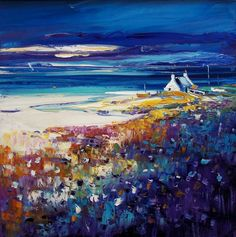 Jean Feeney, Time To Go Home, Isle of Lewis. Image Size 20x20 inches l Contemporary Scottish Art Abstract Landscape Painting, Landscape Art, Landscape Paintings, Landscapes, Caribbean Art, Funky Art, Art Things, Whimsical Art, Pictures To Paint