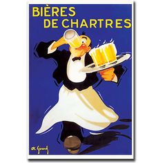 Bieres de Chartres is a colorful and unique vintage-inspired piece of gallery-wrapped canvas art. Ready to hang anywhere in your home, this giclee art print offers the finest in quality. Accepted by museums, galleries, and collectors alike.