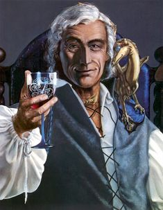 This is the picture of Robinton, Masterharper of Pern, as you can find it in the book The People of Pern by Robin Wood with an introduction by Anne McCaffrey, that was published in 1988 . Showing the much loved Harper when he was old, and had moved to Southern to settle in Cove Hold, he holds a glass of his favorite Benden Red wine, his bronze fire-lizard, Zair, perches on his shoulder.