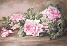 *FREE SHIPPING, Last One!* Please see second photo for the full image. This sweet composition of lush pink French roses has a dramatic