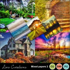 Digital Scrapbooking Kits | Mixed papers 2-(LinsCre) | Beach, Commercial Use, Everyday, Nature, Seasons | MyMemories