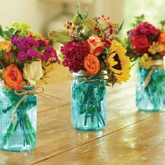 THESE ARE SO PRETTY! | Our new Ball® Collection Elite® Color Series Jars capture the fun and vibrant colors of spring! #BallJars #BallCanning Our antique blue jars got their blue-green colors from the Lake Michigan sand used to make the glass.