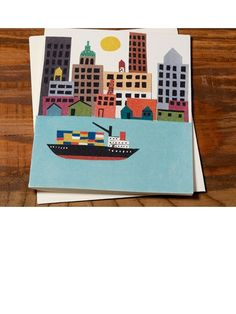 cargo ship card | designed by Christian Robinson for Red Cap Cards
