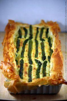 Asparagus, potato filo pastry tart.