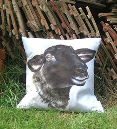 'Susie' Suffolk Sheep standard cushion. Sheep are definitely having a 'moment'.