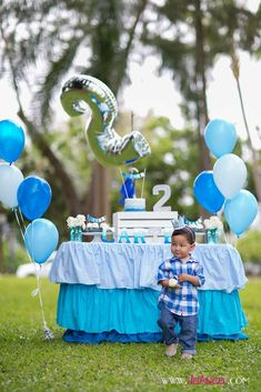 Prince Carter's Blue Ombre 2nd Birthday Party   CatchMyParty.com