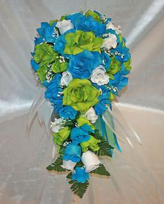 green turquoise malibu bridal bouquet cascade silk rose wedding flower package