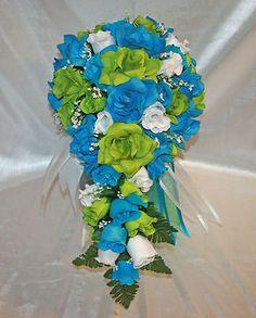 Green Turquoise Malibu Bridal Bouquet Cascade Silk Rose Wedding Flower Package | Home & Garden, Wedding Supplies, Flowers, Petals & Garlands | eBay!