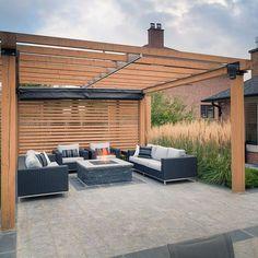 Gallery of Retractable Shade - Vaughan - 2 - Pergola Ideas Pergola With Roof, Outdoor Pergola, Backyard Pergola, Pergola Shade, Patio Roof, Pergola Kits, Backyard Landscaping, Outdoor Spaces, Outdoor Living