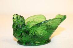 Large Emerald Green Bird with Berry in His Beak Open Salt