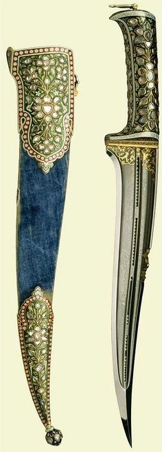 Indian pesh kabz dagger, presented during the Prince of Wales's Indian tour of 1875-6, with a blade of exceptional accomplishment, wootz steel, with a single polished edge and with two etched shallow grooves flanking a drilled bore in four sections which are filled with loose seed pearls and would obviously have certain practical limitations and it must be seen instead as an exercise in master bladesmithing. The Royal Collection.