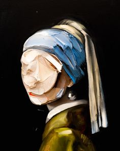 From Joseph Lee, a super abstract rendition of Vermeer's Girl with a Pearl Earring. Another one for my collection of GPE remixes Abstract Portrait, Portrait Art, Abstract Art, Human Painting, Feminist Art, Acrylic Painting Canvas, Contemporary Paintings, Art Inspo, Art Drawings