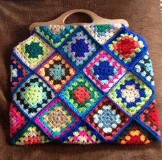 Crocheted granny square bag.    ..............Inspiration