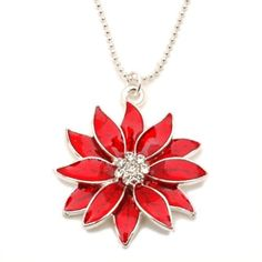 Red Poinsettia Christmas Pendant Necklace