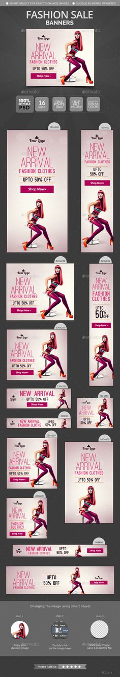 Fashion Sale Banners Template #design #web Download: http://graphicriver.net/item/fashion-sale-banners/11950627?ref=ksioks