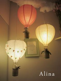"I would love to have these Handmade Hot Air Balloon Lights. You have to go to her site to see the photos. Just so adorable and so clever for a kid's room! By Alina Kelo, ""Creating With My Hands"" Nursery Room, Nursery Decor, Nursery Ideas, Room Ideas, Sky Nursery, Travel Theme Nursery, Whimsical Nursery, Kids Bedroom, Room Decor"