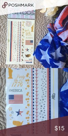 🇺🇸 Francesca's Americana Metallic Temp Tattoos Americana Temporary Metallic Tattoos from Francesca's in preparation for our 2016 elections, this year's Olympic Games or worn just to show off your American pride this summer!   1 full sheet. The first picture is of the actual tattoos, and the second picture is a depiction of how the tattoos will look once they are on. Offers welcome through the offer button! Francesca's Collections Jewelry Bracelets