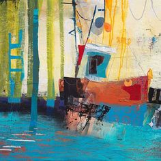 Really pleased to be showing in my home town Hull Abstract Landscape, Abstract Art, Boat Art, Boat Painting, Guys And Dolls, Landscape Illustration, Water Crafts, Contemporary Paintings, Collage Art