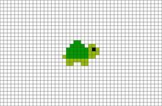 Tiny Turtle pixel art x 7 pixels; Tiny Cross Stitch, Cross Stitch Animals, Cross Stitch Designs, Cross Stitch Patterns, Kawaii Cross Stitch, Cat Cross Stitches, Easy Perler Bead Patterns, Diy Perler Beads, Perler Bead Art