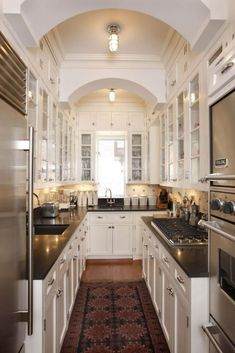Pantry Kitchen Layout Ideas Small Kitchen Design Ideas Modern Kitchen Designs For Small Kitchens Modern Kitchen Ideas For Small Kitchens Kitchen Decor Ideas Ideas White Galley Kitchens, Galley Kitchen Design, Galley Kitchen Remodel, Luxury Kitchen Design, Luxury Kitchens, New Kitchen, Home Kitchens, Kitchen Designs, Kitchen Ideas