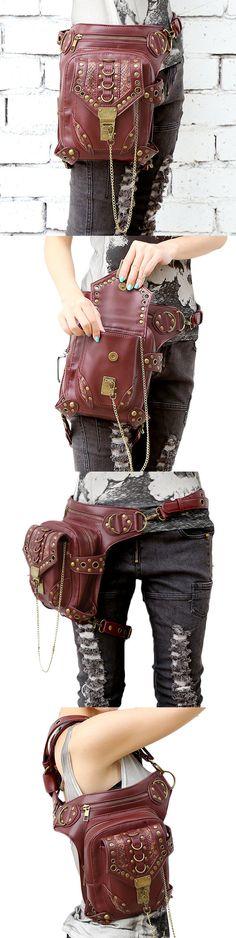 25bb415f23 BAG whip and thigh beltomen Casual Cool Rivet Multiduty Shoulder Bag  Crossbody Bag Leg Bags