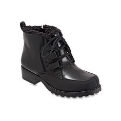 Trotters Snowflakes III Boots ($89) ❤ liked on Polyvore featuring shoes, boots, ankle booties, black, lace up bootie, ankle boots, hiking boots, short boots and lace up ankle boots