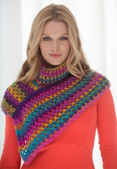 Crochet an accessory that is perfect for layering like this Asymmetrical Neckwarmer made with our new Landscapes yarn.