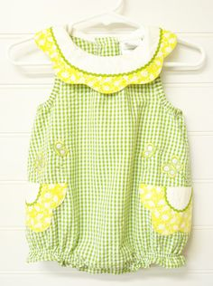 Vintage Baby Clothes/Baby Girl Romper Green and White Gingham Baby Romper Flower Accented Baby Romper with Scallopped Collar.