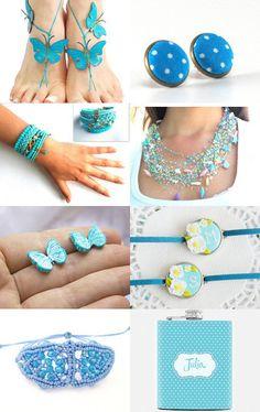 Blue summer by Yulia on Etsy--Pinned with TreasuryPin.com #blue #beach #macrame #bracelet #sumemr2015 #giftteen