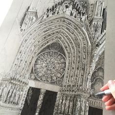Hoping to finish Notre Dame today  #art #drawing #pen #sketch #illustration #linedrawing #architecture #france #paris #notredame #church #cathedral #gothicarchitecture