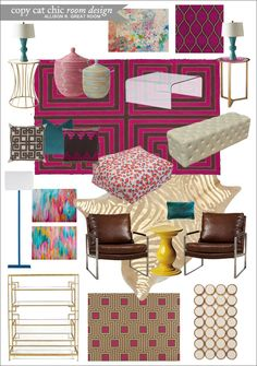 Allison R. Great Room | Copy Cat Chic Room Designs | A super fun and colorful great room for under $7,800 | Inspired by Jonathan Adler