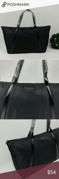 """Givenchy parfums large nylon tote bag New Givenchy parfums large nylon tote bag with patent handle straps. 11"""" tall 19.5"""" wide at the top 15"""" wide at the bottom  7"""" strap drop Base of the bag approximately 5"""" wide A few minor scuffs (pictured). Nothing really noticeable. Givenchy Bags Totes"""