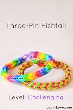 How-to: Make a Three Pin Fishtail Rubber Band Bracelet #rainbow #loom | best stuff