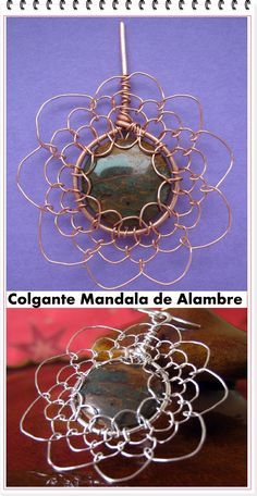 How to make a wire woven mandela (what: Como hacer un Mandala con Alambre Tejido means!)  Site needs a bit of translation but worth it!