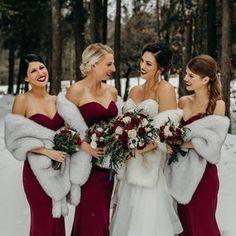 John Barnes, Winter Bridesmaids, Winter Wedding Inspiration, Winter Wedding Ideas, Winter Wedding Shawl, Winter Wedding Colors, Wedding Shawls, Winter Wedding Dresses, December Wedding Colors