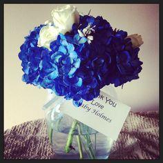 Blue hydrangea and white rose baby shower thank you's #besteventsfloraldesign