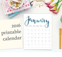 2016 Printable Calendar Handdrawn by Bloomhandlettering on Etsy