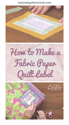 Diane Harris makes adding a label to your quilt completely painless. Start by brainstorming and creating what your label will say and how it will look using Microsoft Word. You will need to get special fabric paper that runs through your printer. After you get your label printed learn how to add a border and a backing to it to sew to the back of the quilt by hand. Quilting Tools, Quilting Tutorials, Hand Quilting, Machine Quilting, Quilting Projects, Pumpkin Quilt Pattern, Scrappy Quilt Patterns, Quilt Blocks, Paper Quilt