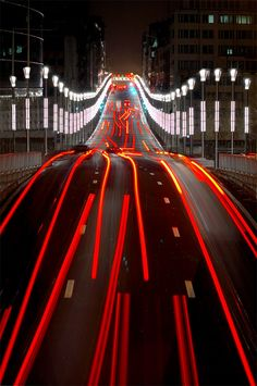 """idealmente: """" Traffic in the city of Brussels by Danny Vangenechten """" Movement Photography, Exposure Photography, Night Photography, Color Photography, Street Photography, Landscape Photography, Urban Photography, Long Exposure Photos, Light Trails"""