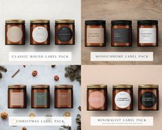 Candle Label BIG Template Bundle Custom Product Label | Etsy Candle Packaging, Candle Labels, Jar Labels, Minimalist Candles, Classic Candles, Candle Store, Rustic Candles, Christmas Labels, Personalized Candles