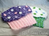 """Handmade Crochet """"Crazy for Cupcakes"""" Pot Holders/Oven Mits"""
