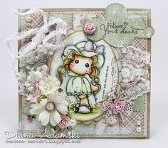 ♥ Inchie-Card with Tilda with Rose Lace Dress ♥ - DeeDee´s Card Art